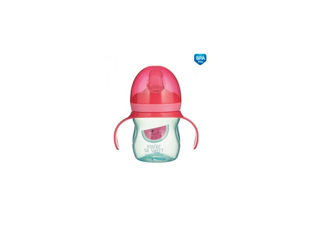 Canpol babies Tréninkový hrníček se silikonovým pítkem a úchyty SO COOL Meloun 150 ml