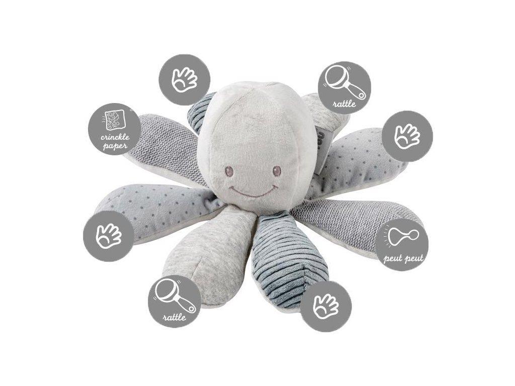 Hračka chobotnička edukační 8 aktivit Lapidou grey