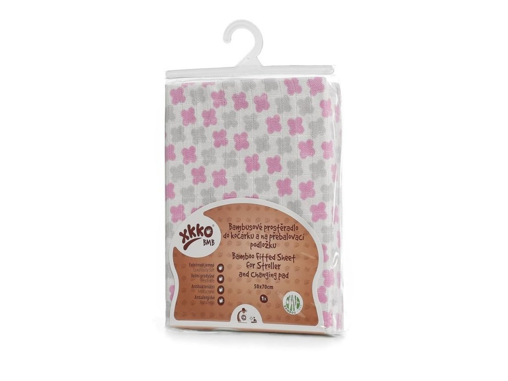 Bambusové prostěradlo s gumou XKKO BMB 50x70 - Baby Pink Cross