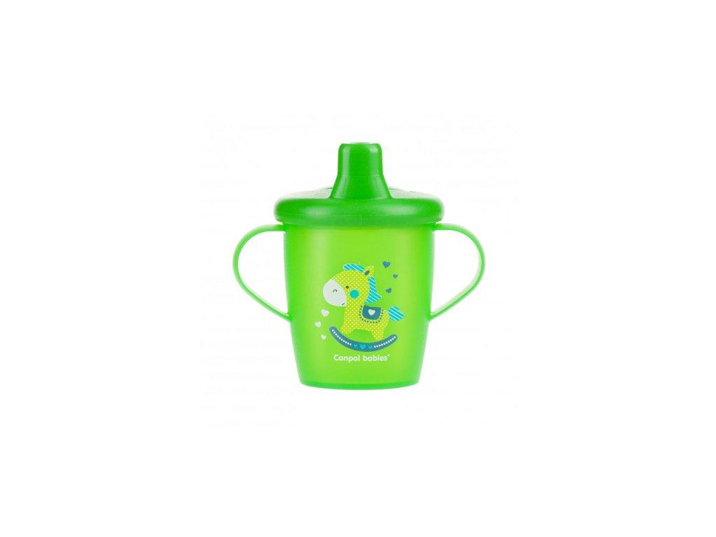 Canpol babies Nevylévací hrníček TOYS 250ml zelený