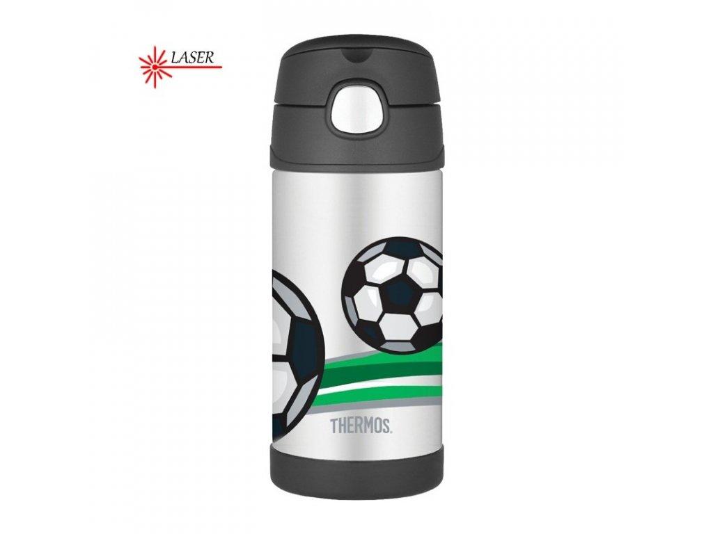 Dětská termoska s brčkem - fotbal