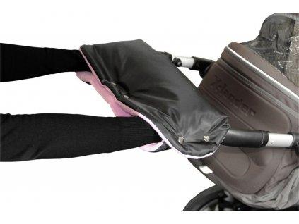 Rukávník ke kočárku černý + lila
