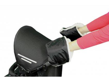 Rukávník ke kočárku/rukavice černý+ 50% kožich