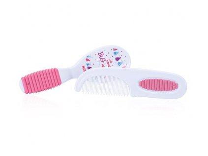 Sada kartáč + hřebínek na vlasy - růžová