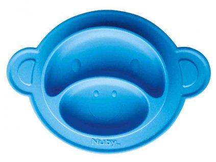 Talíř s přísavkou - Opice 9m+, modrý