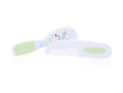 Sada kartáč + hřebínek na vlasy - zelená