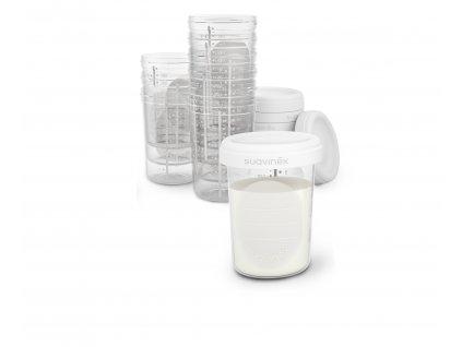 SUAVINEX   Skladovací pohárky 200 ml - 10 ks