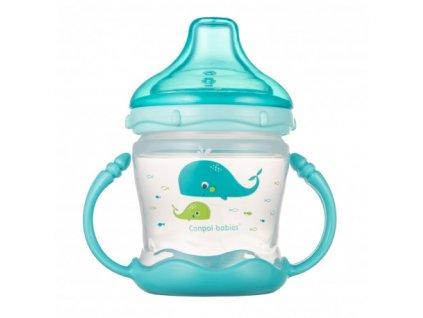Canpol babies Nevylévací hrníček se silikonovým pítkem LOVE&SEA 180ml modrý