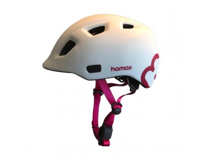 Cyklohelma Thundercap bílá / růžové pásky 52-57