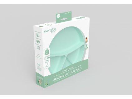 Talíř silikon,s přísavkou,mint green