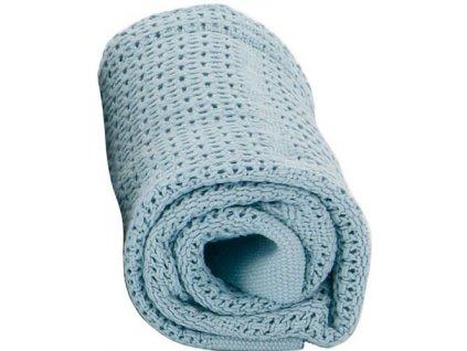 Baby Dan Dětská háčkovaná bavlněná deka Babydan světle modrá