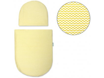 Babyrenka povlečení do kočárku kulaté 35x30,43x52 cm Žluté vlnky