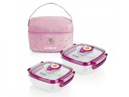 Termoizolační pouzdro + 2 hermetické misky na jídlo Pink