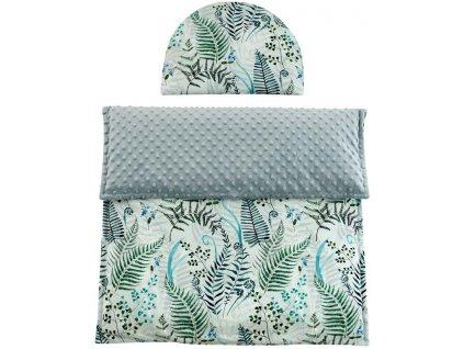 ESITO Luxusní deka s polštářem do kočárku Minky Kapradí 3 v 1 - 65 x 85