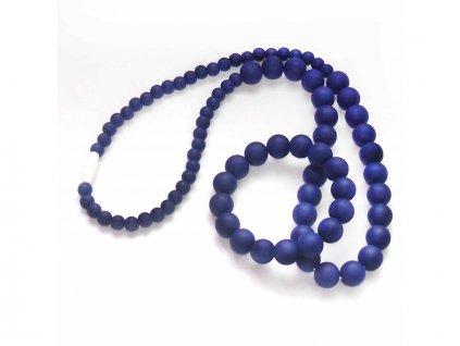 Silikonové korále a náramek - set - tmavě fialová