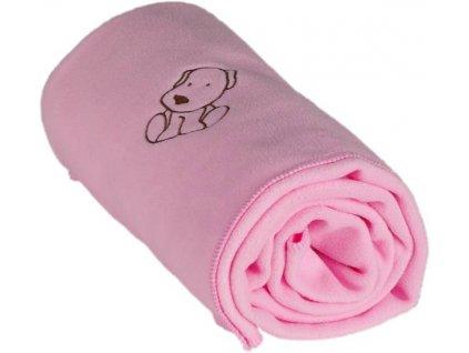 Dětská flísová deka s pejskem růžová