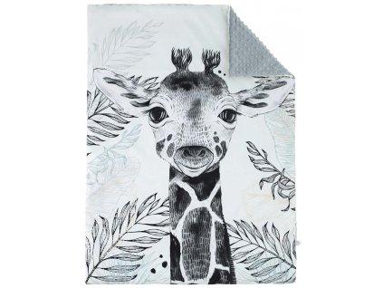 ESITO Luxusní deka MINKY Žirafa - šedá / 73 x 98 cm ESDEKLUXDPMNKZIR
