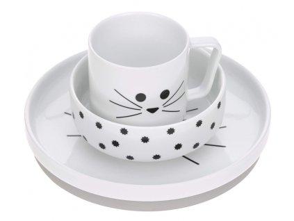 Dish Set Porcelain Little Chums cat
