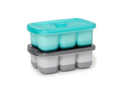 Nádobky na uskladnění jídla s flexibilním dnem Easy Fill Grey, Teal 12 porcí x 60ml
