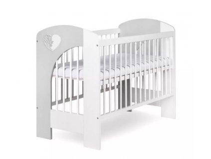 Postýlka dětská NEL - Srdce 120x60 cm bílo-šedá