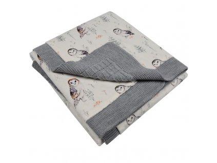 PLE-25 Deka z pleteniny se vzorem RŮŽE-šedá