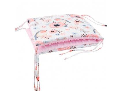ESITO Luxusní mantinel do postýlky MINKY Ptáčci - růžová / 28 x 60 cm ESVPMANMNKPTCRUZ