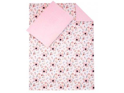 ESITO Luxusní dětské povlečení MINKY Ptáčci - růžová / 100 x 135
