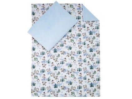 ESITO Luxusní dětské povlečení MINKY Ptáčci - modrá / 100 x 135