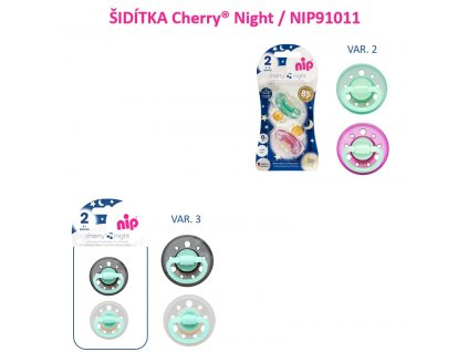 NIP CHERRY night šidítko K,6m+,2ks,mix barev