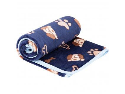 ESITO Dětská deka jednoduchá Pejsek - tmavě modrá / 75 x 100 cm ESDEKMPPSK