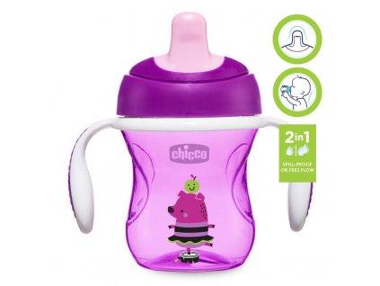 Hrneček Chicco Trénujeme s držadly 200 ml, fialový 6m+