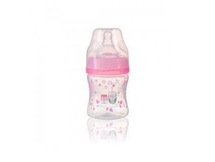 Kojenecká antikoliková láhev široké hrdlo ružová 120 ml 0m+
