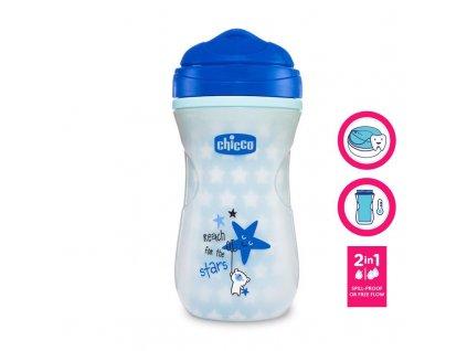 Hrneček Chicco Shiny termo floureskujúci s hubičkou 200 ml, modrý 12m+