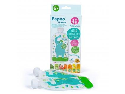 Kapsička na jídlo Papoo Original Elephant 6 ks + dárek