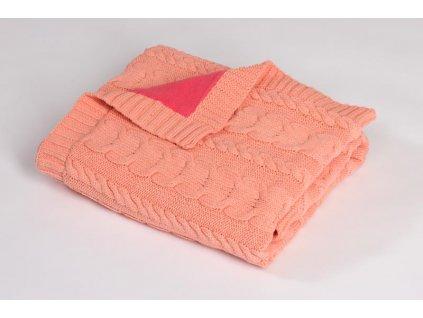 Pletená deka zateplená bavlna,růžová,copánky Rialto Baby