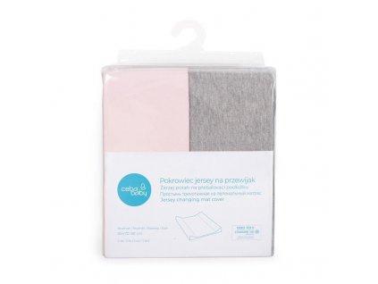 Potah na přebalovací podložku 50x70-80cm 2ks Light Grey Melange+Pink