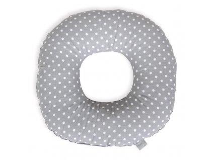 Polštář poporodní kruh Tečky bílo-šedé