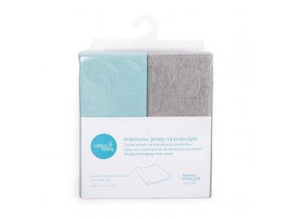 Potah na přebalovací podložku 50x70-80cm 2ks Light Grey Melange+Turquoise