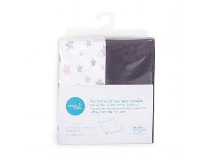 Potah na přebalovací podložku 50x70-80cm 2ks Dark Grey+Pink Stars