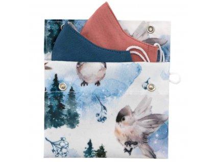 ESITO Ochranné pouzdro na roušku Ptáčci pro roušku vel. XS a S - modrá / 15 x 12 cm ESHYGROUPZDPTC