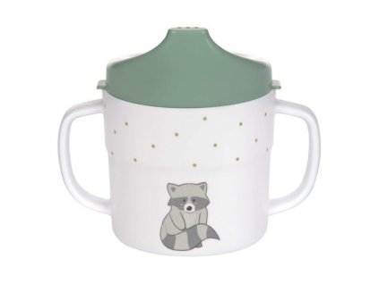 Sippy Cup Melamine/Silicone About Friends racoon