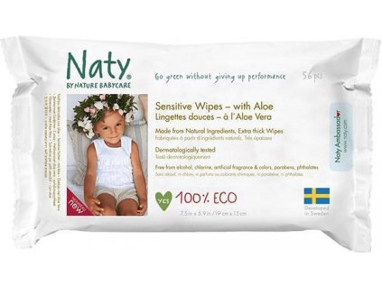 Ubrousky vlhčené Aloe Sensitive Babycare Eco 56ks Naty Nature
