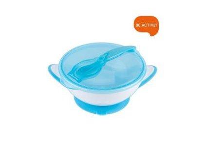 Miska uzavíratelná s přísavkou, lžičkou - modrá 300 ml