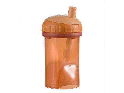 Dětský hrneček s brčkem Difrax, cihlová, 250 ml