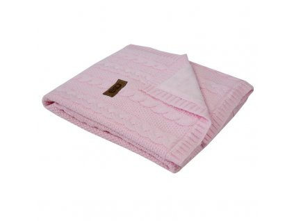 PLE-41 deka z pleteniny klasy + kožešina PINK