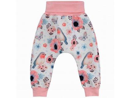 ESITO Dětské softshellové kalhoty Ptáčci vel. 62 - 80 - 62 / růžová ESKALSFTPTC