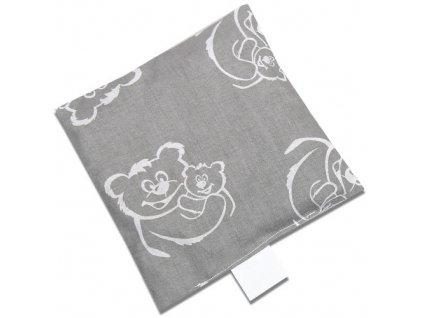 Babyrenka nahřívací polštářek 15x15 cm z třešňových pecek Medvědi šedá