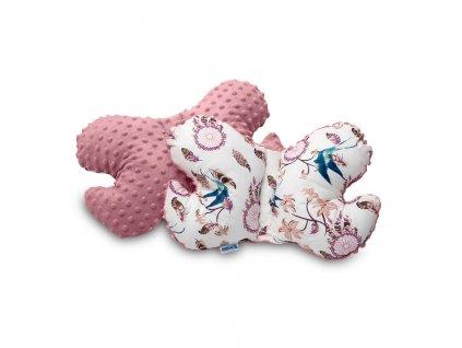 Polštářek Motýlek z Minky Sensillo růžový ptáčci