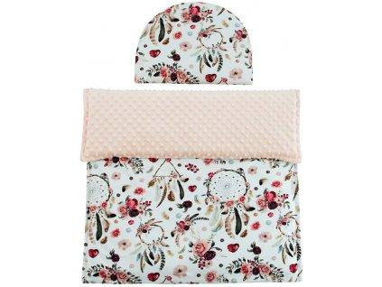 ESITO Luxusní deka s polštářem do kočárku Minky Růžový sen 3 v 1 - lososová / 65 x 85