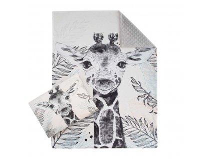 ESITO Luxusní sada do postýlky MINKY Žirafa - stříbrná / 77 x 100